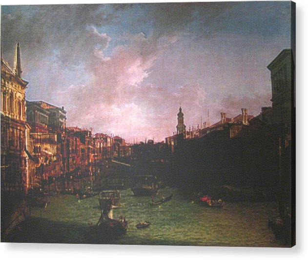 Landscape Acrylic Print featuring the painting After Canal Grande Looking Northeast by Hyper - Canaletto