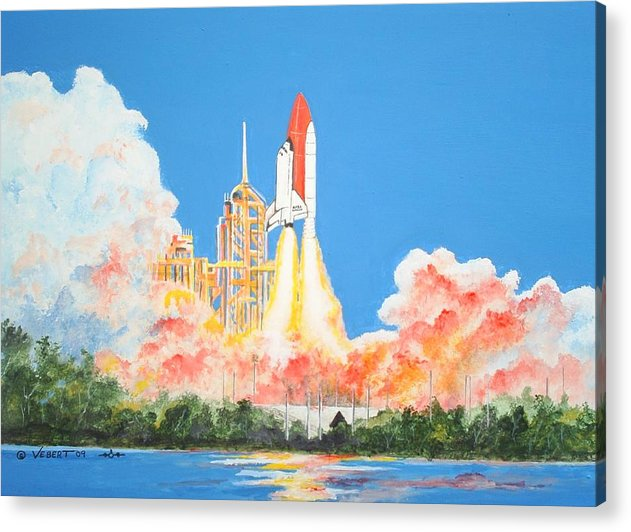 Space Acrylic Print featuring the painting Cape Canaveral by Dennis Vebert