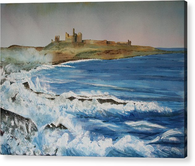 Castle. Seascape. Northumberland. England. Uk Acrylic Print featuring the painting Dunstanburgh Castle by John Cox