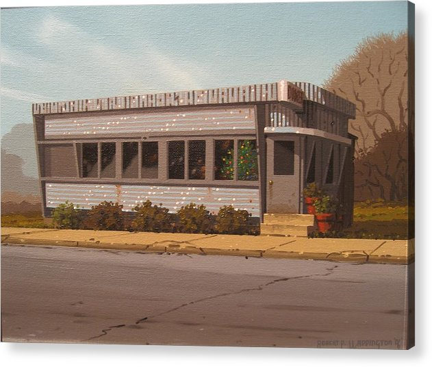 Diner Acrylic Print featuring the painting Holiday Diner by Robert P Waddington