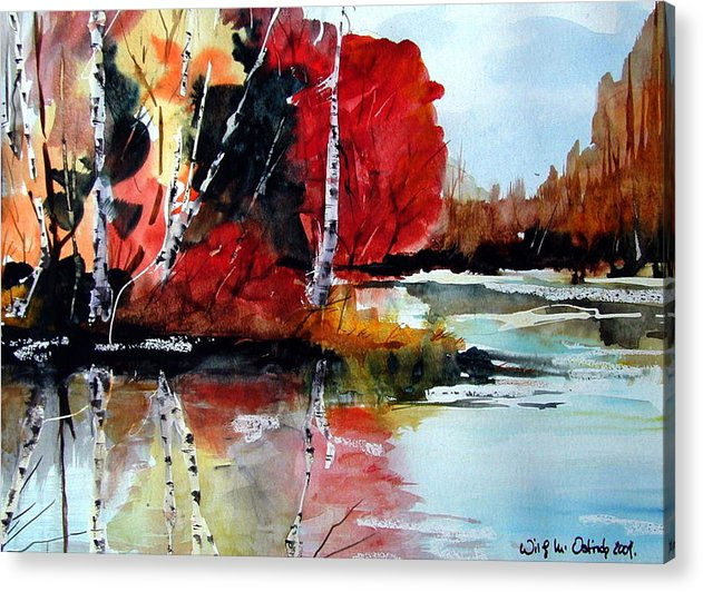 Landscape Acrylic Print featuring the painting The Colours Of Autum Definitely Red by Wilfred McOstrich