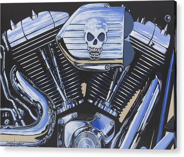 Harley Davidson Motorcycle Acrylic Print featuring the painting Clear To Partly Cloudy by John Westerhold