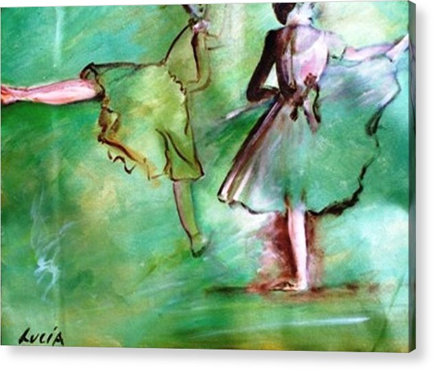 Ballet. Ballerina. Print. Acrylic Print featuring the print Degas' Dancers by Carl Lucia
