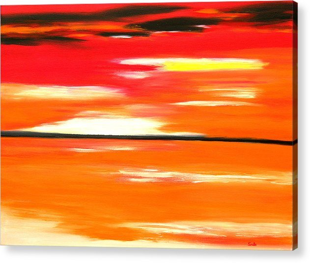 Caribbean Acrylic Print featuring the painting Flamescape by Sula Chance