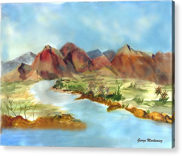 Desert Mountains And Water Acrylic Print featuring the print Mountain Range by George Markiewicz