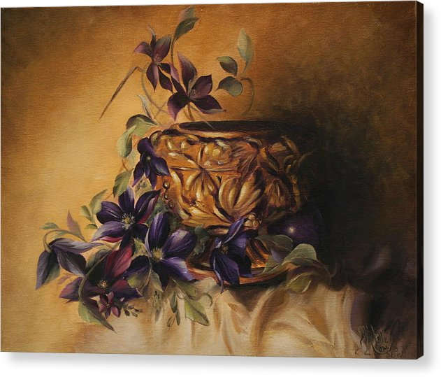Still Life Acrylic Print featuring the painting Purple Clematis by Michelle Kerr