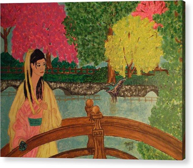 Asian Acrylic Print featuring the painting Asian Girl On Bridge by Theresa Shaw