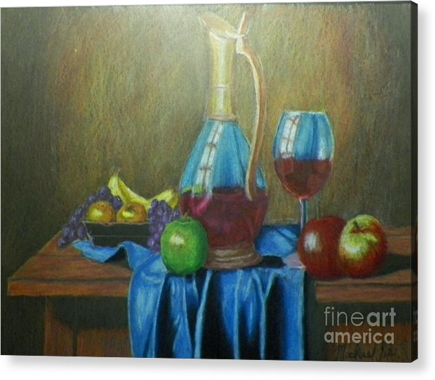 Still Life Acrylic Print featuring the drawing Fruity Still Life by Mickael Bruce