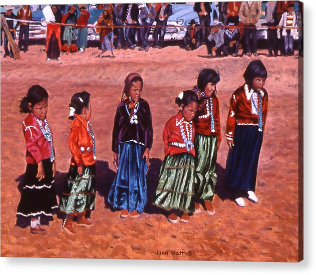Navajo Indian Southwestern Monument Valley Acrylic Print featuring the painting Pretty Maids All by John Watt