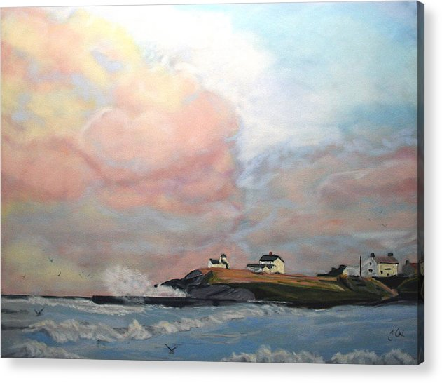 Seascape Acrylic Print featuring the painting Seaton Sluice. by John Cox