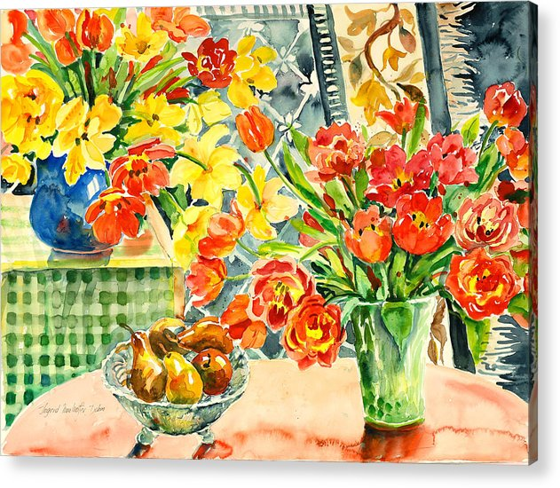 Watercolor Acrylic Print featuring the painting Studio Still Life by Ingrid Dohm