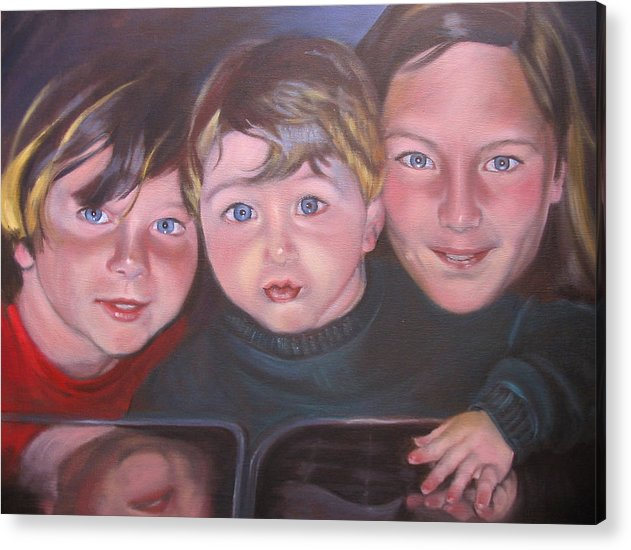Children Portraits Acrylic Print featuring the painting The Grandkids by Kaytee Esser