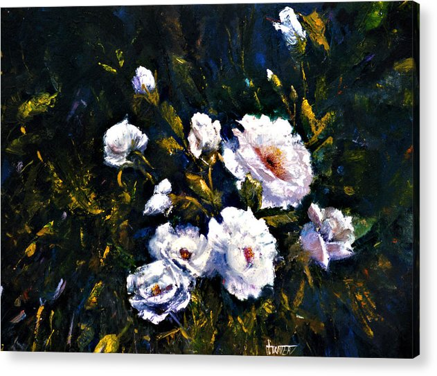 Flowers Acrylic Print featuring the painting White Roses by Jimmie Trotter