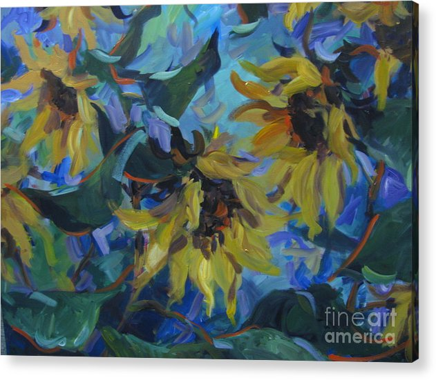 Sunflowers Acrylic Print featuring the painting Wild Sunflowers by Sandra Leinonen Dunn