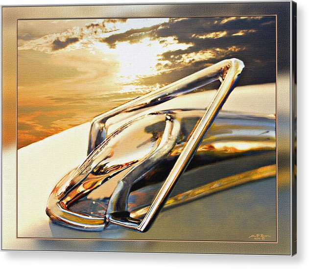 Hudson Hood Ornament Automobiles Acrylic Print featuring the painting 50 Hudson Hood Ornament by John Breen