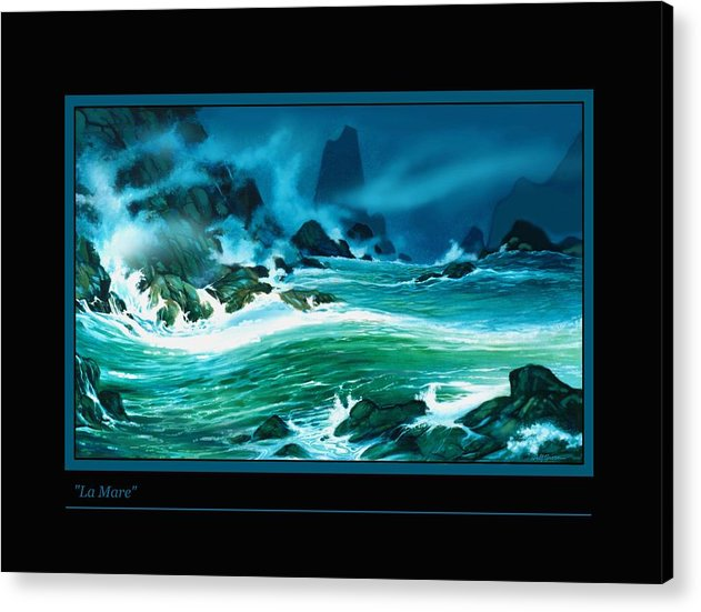 Seascape Wild Ocean Waves And Rocks Night Painting Acrylic Print featuring the painting La Mare by Walt Green