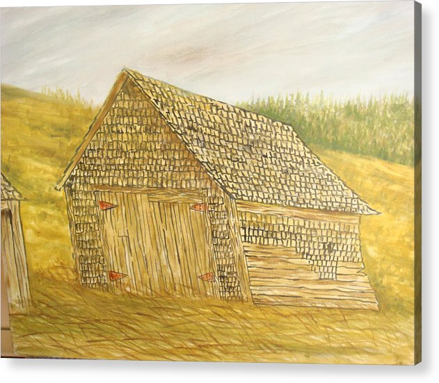 Barn Acrylic Print featuring the painting Leaning In by Norman F Jackson