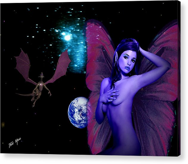 Space Acrylic Print featuring the painting Matching Wings by Tray Mead
