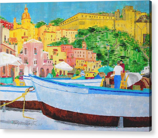Boats Acrylic Print featuring the painting Procida by Art Mantia
