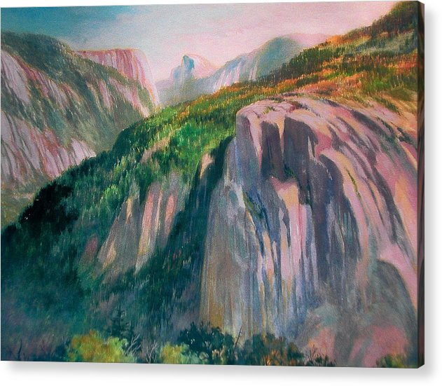Yosemite;national Park;mountains;landscape;watercolor Painting;water Media; Acrylic Print featuring the painting Yosemite by Don Getz