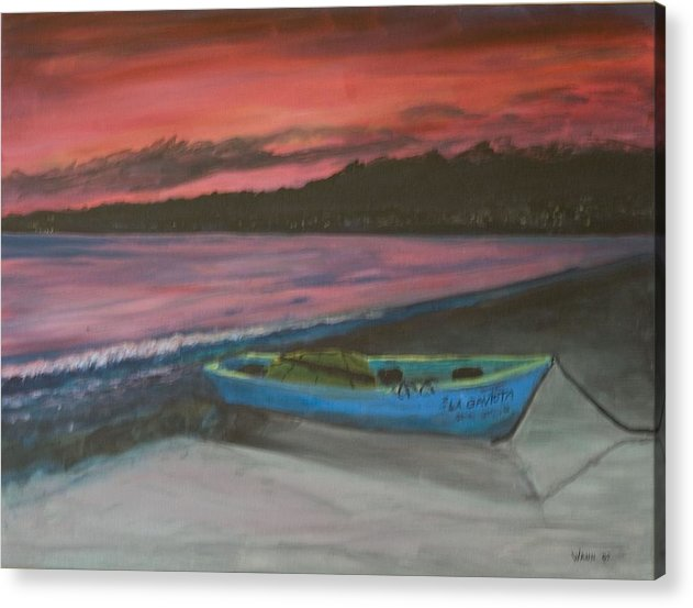 Seascape Acrylic Print featuring the painting Sunset Reflections by Anita Wann