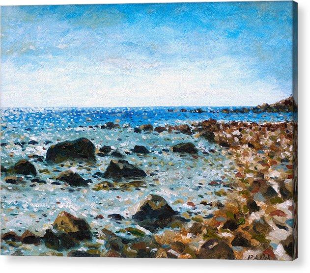 Montauk Acrylic Print featuring the painting On The Rocks At Montauk by Ralph Papa
