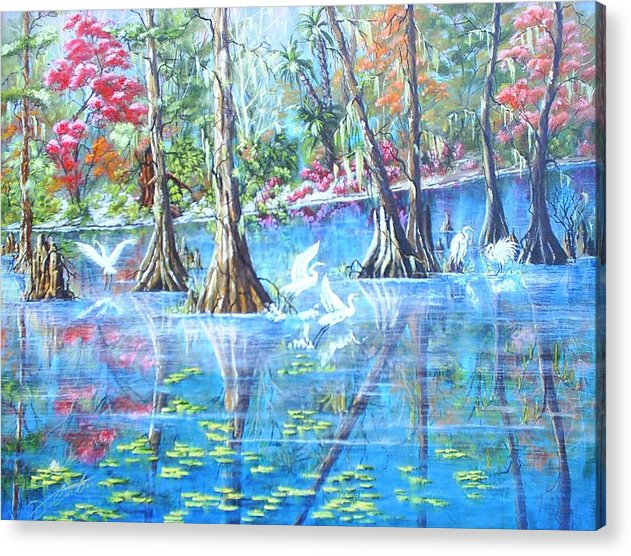 Florida Landscape Acrylic Print featuring the painting St. John by Dennis Vebert