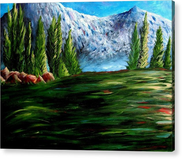 Landscape Acrylic Print featuring the painting Western Mountains by Brandon Sharp