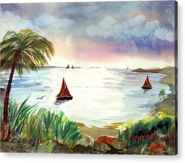 Island Boats Acrylic Print featuring the print Island Of Dreams by George Markiewicz