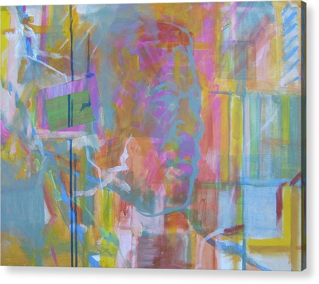 Abstract; Colors; Acrylic Composition; Canvas Panel Painting; Abstract Portrait Acrylic Print featuring the painting Casual Male In Minor by Howard Stroman