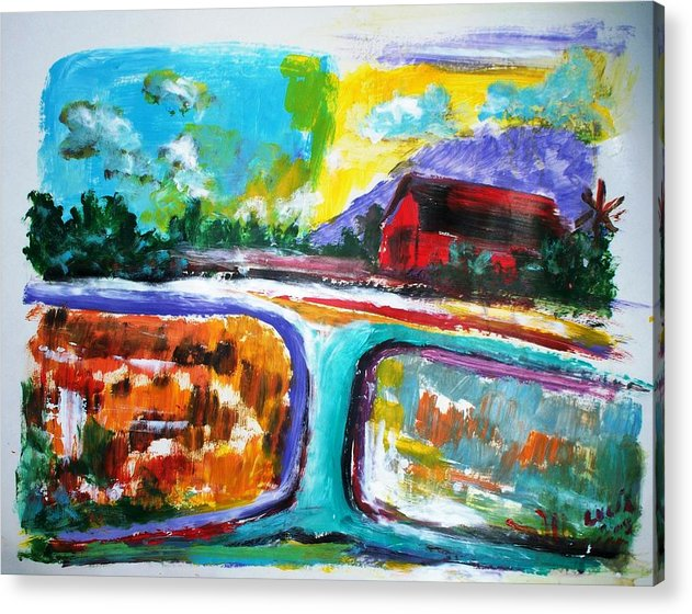 Abstract. Lamdscape.barns Acrylic Print featuring the print Country Mile by Carl Lucia
