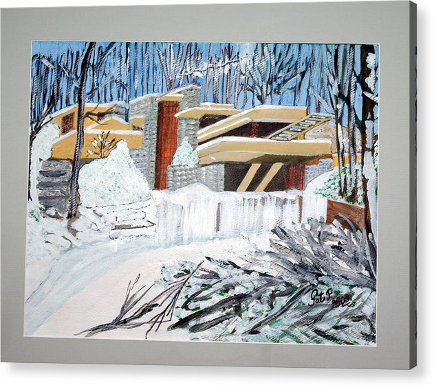 Franklloyd Wright Fallingwater Acrylic Print featuring the painting Fallingwater by Patricia Fragola