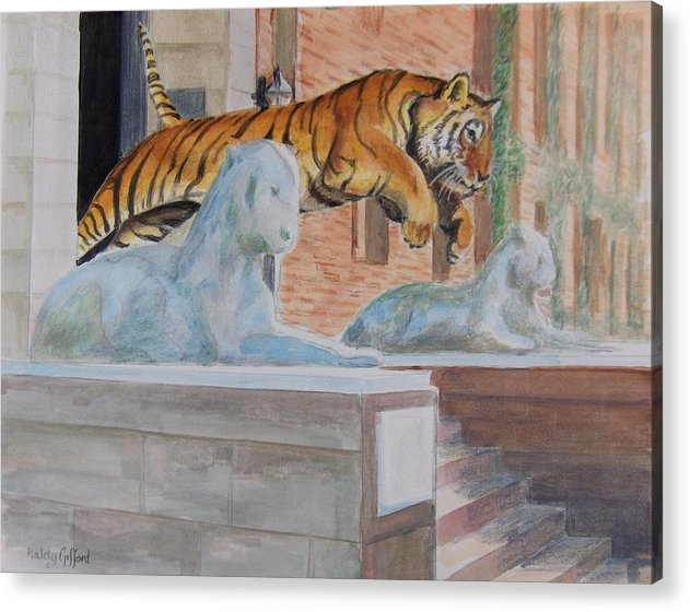 Priceton Tiger Acrylic Print featuring the painting Princeton Tiger by Haldy Gifford