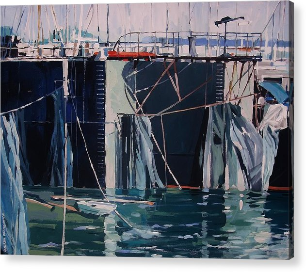 Waterfront Landscape Acrylic Print featuring the painting Sausalito Docks by Andrew Drozdowicz