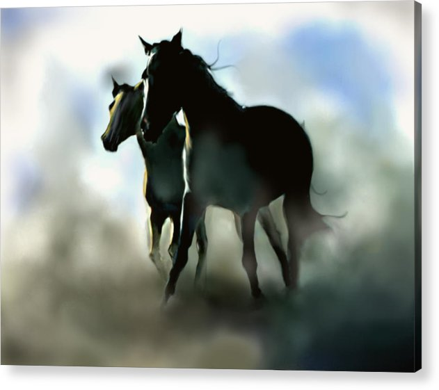 Horses Acrylic Print featuring the painting Stallions by James Robinson