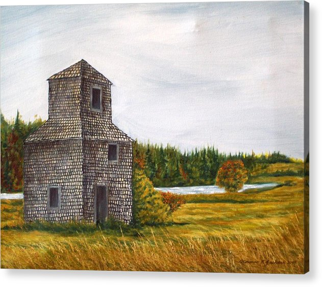 Barn Acrylic Print featuring the painting The Drying Barn by Norman F Jackson