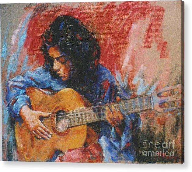 Figurative Acrylic Print featuring the painting Mi Gitana by Tina Siddiqui