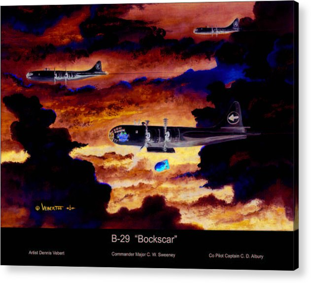 B-29 Bomber Acrylic Print featuring the painting B-29 Bockscar by Dennis Vebert