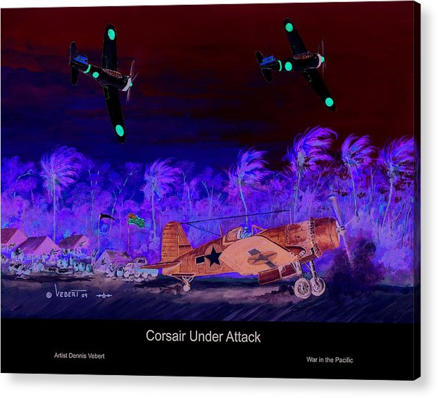 Aviation Art Acrylic Print featuring the painting Corsair At The Ready by Dennis Vebert