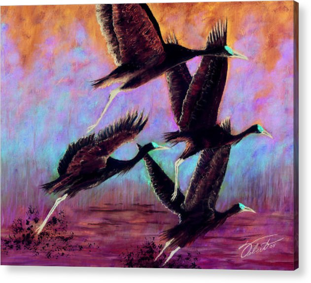 Birds Acrylic Print featuring the painting Cranes In Flight by Dennis Vebert
