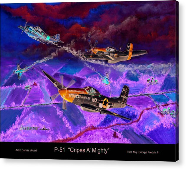 Aviation Art Of World War 11-airplane Art Acrylic Print featuring the painting P-51 Cripes A by Dennis Vebert