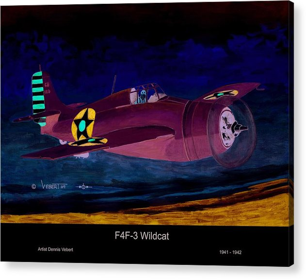 Wildcat Airplane Acrylic Print featuring the painting Wildcat by Dennis Vebert