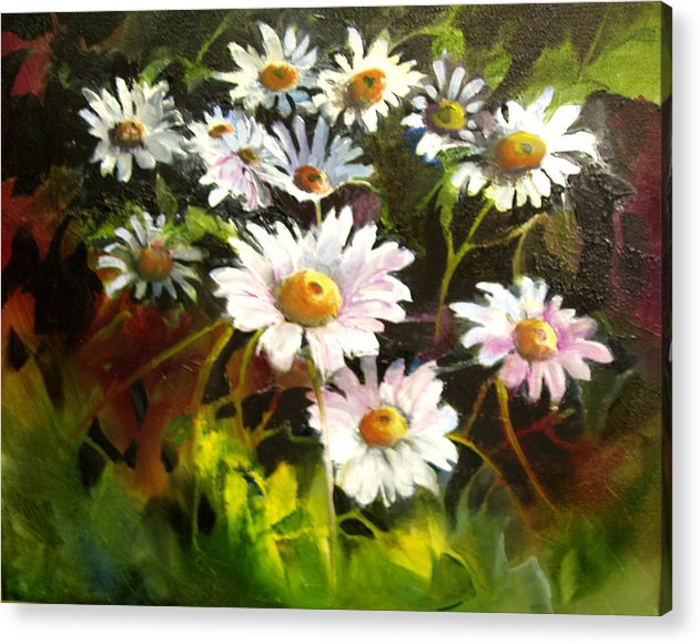 Flowers Acrylic Print featuring the painting Daisies by Robert Carver