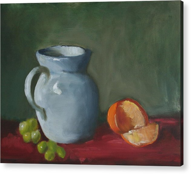 Still Life Acrylic Print featuring the painting Pitcher With Fruit by Rf Hauver