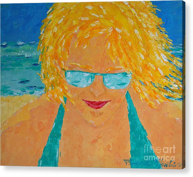 Beach Art Acrylic Print featuring the painting Warm Summer Breeze by Art Mantia