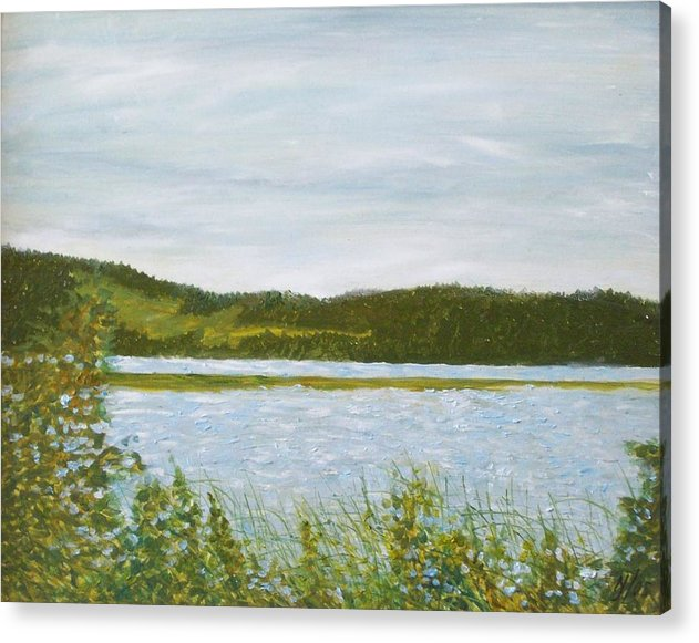 Lake Acrylic Print featuring the painting Across The Belleisle by Norman F Jackson