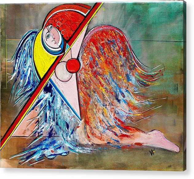 Angel Acrylic Print featuring the painting Angel - Study 1 by Valerie Wolf