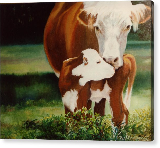 Calf Acrylic Print featuring the painting First Kiss by Valerie Aune