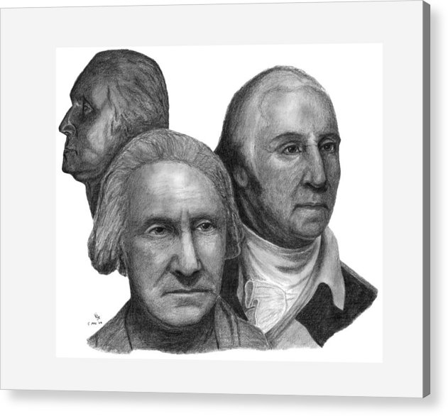 Washington Acrylic Print featuring the drawing President George Washington by Charles Vogan