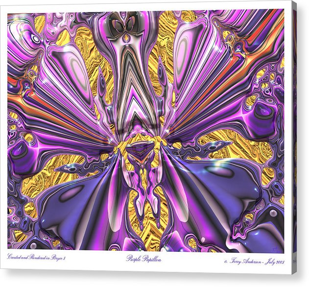 Abstract Art; Large Art Print; Digital Art; 3-d Rendering Acrylic Print featuring the digital art Purple Papillon by Terry Anderson